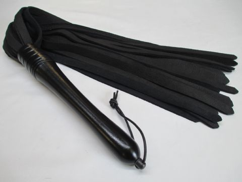 Ebonised Lacquered Handled Exotic Elk Leather Flogger